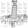 Leaning tower of pisa 2013 calendar - Stock Vector