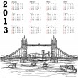 Tower bridge 2013 calendar — Stock Vector