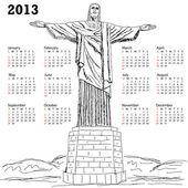 Cristo redentor 2013 calendar — Stock Vector