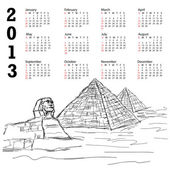 Egypt pyramid 2013 calendar — Stock Vector
