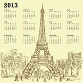 Eifel tower calendar 2013 — Stock Vector