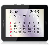 Calendario junio de 2013 — Vector de stock