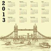 Tower bridge vintage 2013 calendar — Stock Vector