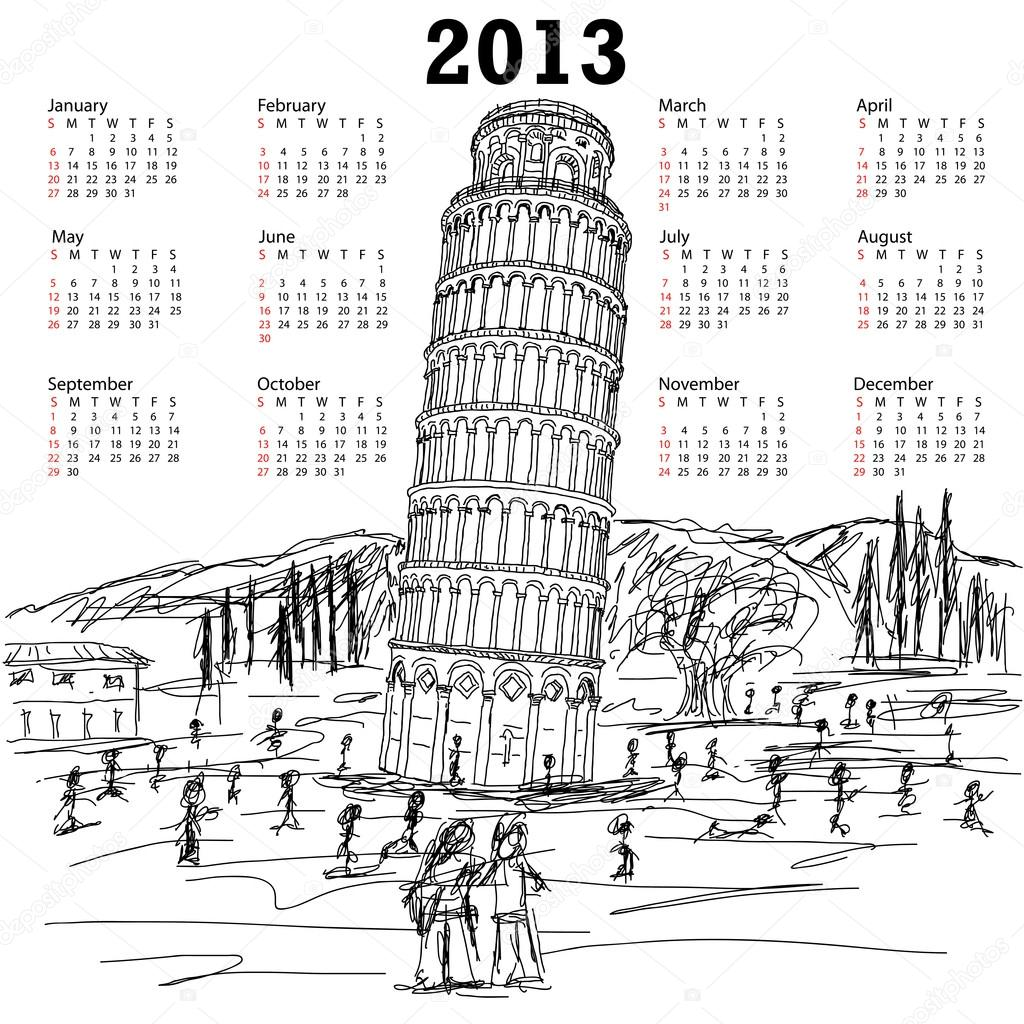 倾斜的比萨斜塔 2013年日历