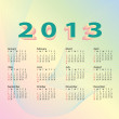 2013 calendar pastel color — Stock Vector