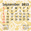 September 2013 calendar albino snake skin — Stock Vector