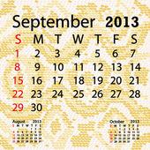 September 2013 calendar albino snake skin — Stock Vector