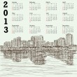 Stock Vector: Hand-drawn cityscape 2013 calendar