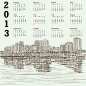 Hand-drawn cityscape 2013 calendar — Stock Vector