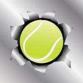 Tennis thru metal sheet — Stock Vector