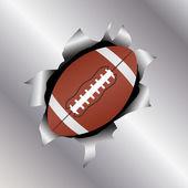 Fútbol a través de la hoja de metal — Vector de stock