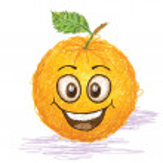 Happy orange fruit — Stock Vector