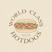 Hotdog vintage label — Stock Vector