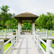 Chinese pavilion above the lotus pond — Stock Photo