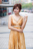 Glamour Chinese woman with beautiful long dress — Stok fotoğraf