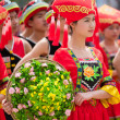 Chinese dancing girl in Zhuang ethnic Festival — Stock Photo #25368211