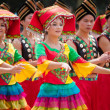Chinese dancing girl in Zhuang ethnic Festival — Stock Photo