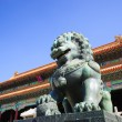 Bronze lion in the Forbidden City — Stock Photo