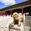 Bronze lion in Forbidden City — Стоковое фото