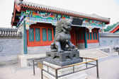 Bronze lion sculpture in Summer Palace — Stock Photo