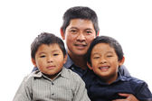 Father Cuddles Sons — Stock Photo
