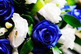 Brides bouquet of blue roses — Stock Photo