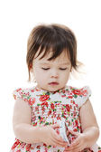 Toddler & mobilephone — Stockfoto