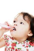 Girl Brushes Teeth — Stock Photo
