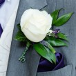 Grooms buttonhole closeup — Stock Photo