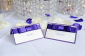 Bride and groom place cards — Stock Photo