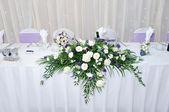 Table decoration at wedding reception — Stock Photo