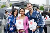 Japanese aid volunteers — Stock Photo