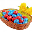 Foto de Stock  : Easter eggs in basket