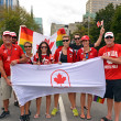 Canadian Olympic athletes show support at Gay Pride Parade in Ottawa — Stock Photo