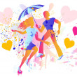 Couple art silhouettes with umbrella and rain - Stock Vector