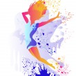 Jumping girl silhouette with colored splats — Stock Vector #12115569