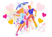 Couple art silhouettes with umbrella and rain — Stock Vector