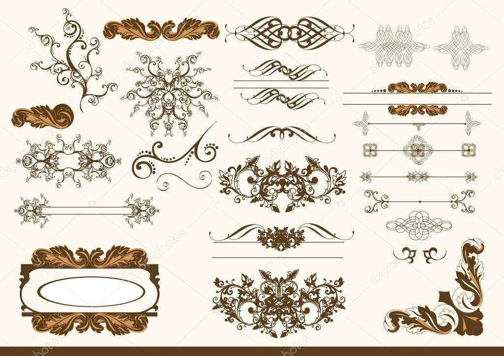 Set of calligraphic elements. Calligraphic vector — Stock Vector #12115139