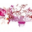 Floral  vector design in pink color with place for your text - Stock Vector
