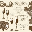 Hand drawn vector set wine and winemaking elements - Stock Vector