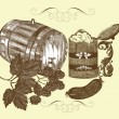 Hand drawn vector still life with beer — Stock Vector #12488119
