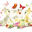 Easter card with three pretty cartoon hare sit on spring lawn — Stock Vector