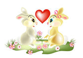 A couple of pretty cartoon rabbits on valentine's day — Stock Vector