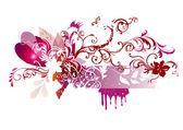 あなたのテキストのための場所でピンク色の花のベクトルのデザイン — ストックベクタ