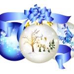 boules de Noël avec la main maison dessinée dans la neige et des flocons de neige — Vecteur
