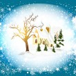 Christmas card with winter scenery (little house in snow) - Stock Vector