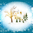 Christmas card with winter scenery (little house in snow) — Stock Vector
