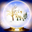 Christmas glass sphere with little house in snow inside - Stock Vector