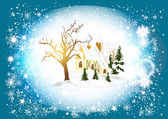 Christmas card with winter scenery (little house in snow) — 图库矢量图片