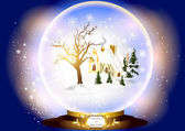 Christmas glass sphere with little house in snow inside — Stock Vector
